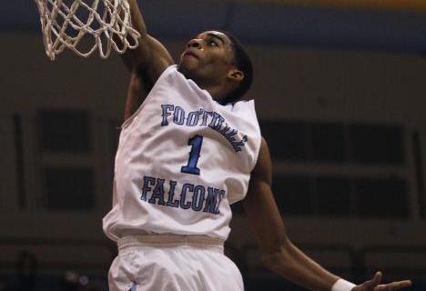 Foothill's Jalen Shepard (1) dunks against Desert Pines on Thursday. Shepard had 11 po ...