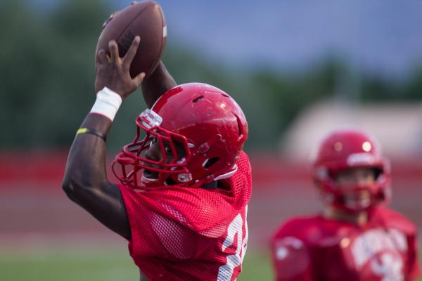 Arbor View running back Anthony Smith hauls in a pass during Tuesday's practice. Smith ...