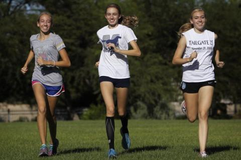 The Meadows' Gosse triplets — from left, Bailey, Delaney and Cassidy — shown Friday be ...