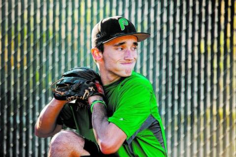Palo Verde senior Michael Spada practices pitching at the school Wednesday. Last weekend, Sp ...