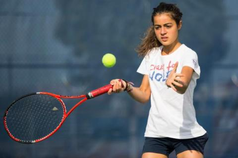 Coronado senior Roberta Padalino, a foreign exchange student from Italy, practices Wednesday ...