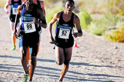 Dajour Braxton, left, and George Espino, right, lead a pack of four Centennial runners at th ...