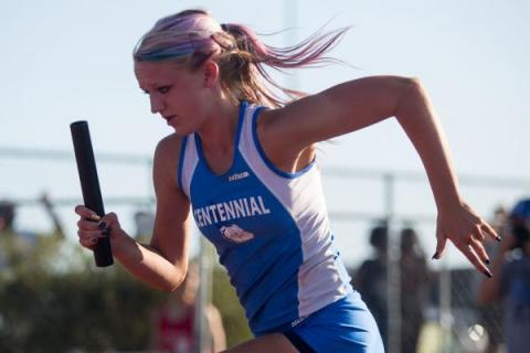 Centennial's Tiana Bonds, shown competing in a relay race Friday in the Division I sta ...