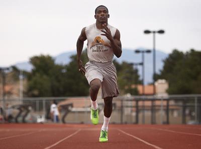 Sprinter Jayveon Taylor runs during practice at Bonanza High School in Las Vegas on March 7, ...