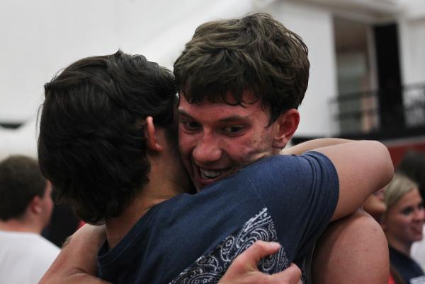 Coronado's Tyler Cucullu, right, hugs a friend in celebration following the team&#8217 ...
