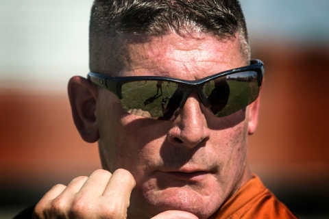 New Legacy High football coach John Isola watches intently during practice Tuesday. The Long ...