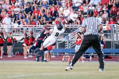 Palo Verde High School Junior Tyler Thornton (9) makes an interception while Coronado High S ...