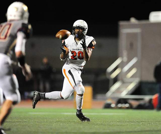 Chaparral wide receiver Richard Nelson catches a pass against Faith Lutheran in the second h ...