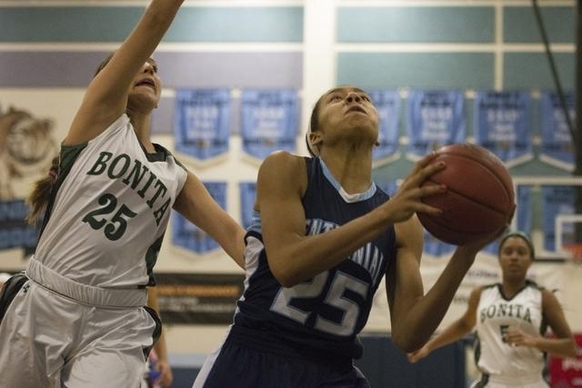 Centennial High School's Samantha Thomas (25) drives against Bonita High School' ...