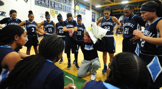 Centennial head girls basketball coach Karen Weitz is seen during a timeout against Spring V ...