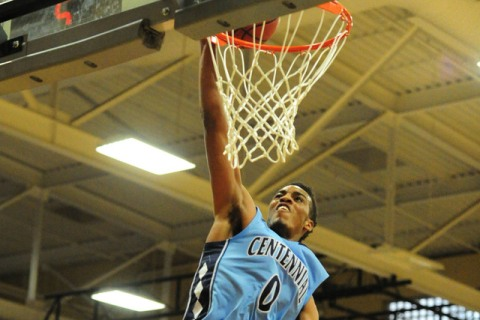 Centennial guard Troy Brown (0) dunks against Desert Oasis in the first quarter of their pre ...