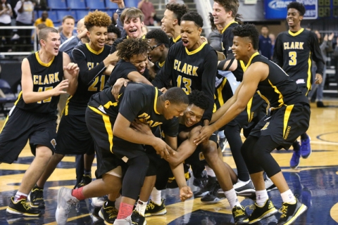 Clark celebrates their 43-39 over Desert Pines in the NIAA Division I-A state basketball cha ...