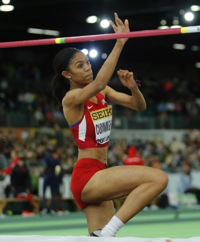 Vashti Cunningham of the U.S. jumps on her way to the gold medal in the women's high j ...