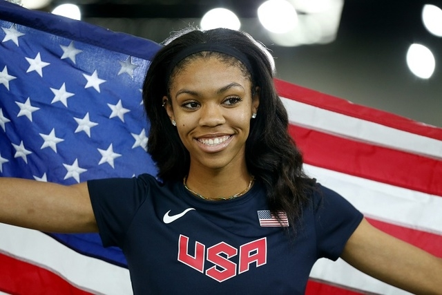 Vashti Cunningham of the U.S. smiles after winning the gold medal in women's high jump ...
