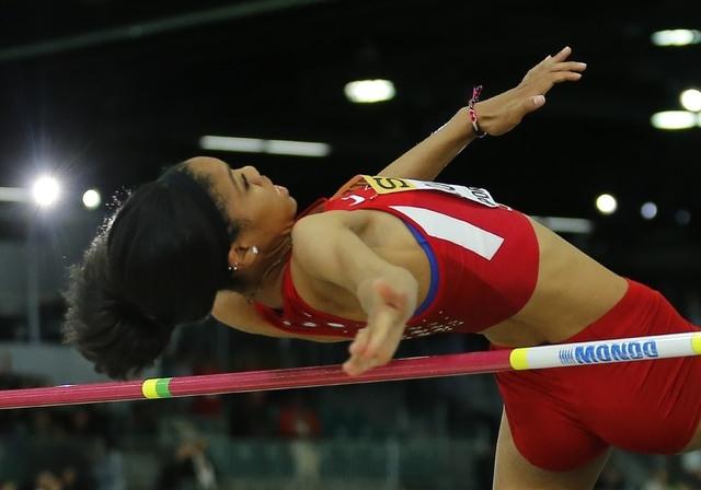 Vashti Cunningham of the U.S. clear the bar on the way to winning the women's high jum ...