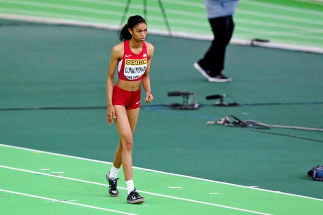 Mar 20, 2016; Portland, OR, USA; Vashti Cunningham (USA) wins the women high jump (1.96) at ...
