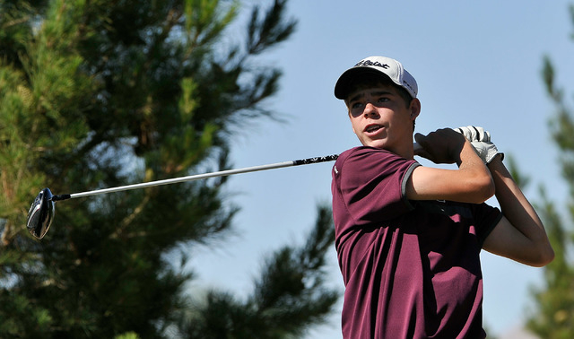 Cimarron-Memorial's Brandon Smith tees off on the eighth hole during the final round o ...