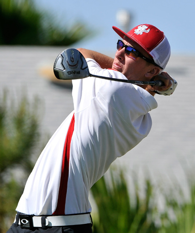 Arbor View's Van Thomas tees off on the seventh hole during the final round of the Sun ...
