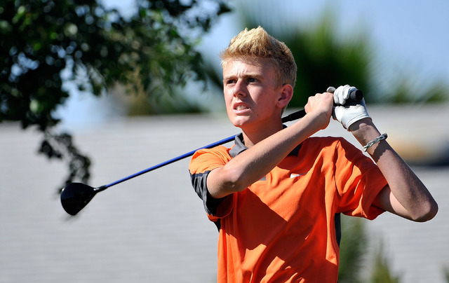 Bishop Gorman's Blake Taylor tees off on the seventh hole during the final round of th ...