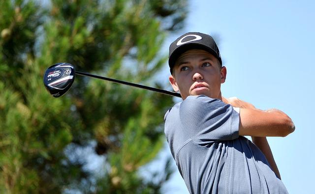 Las Vegas' Trey Jensen tees off during the final round of the Sunrise Region tournamen ...