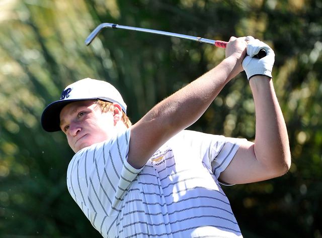 Shadow Ridge's Benjamin Davis tees off on the fourth hole during the final round of th ...