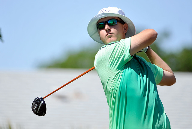 Green Valley's Grayson Savio tees off during the final round of the Sunrise Region tou ...