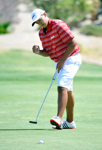 Coronado's Brad Keyer reacts to his putt on the fifth hole during the final round of t ...