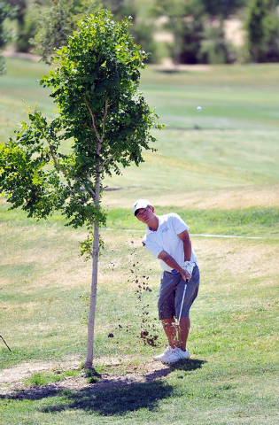 Foothill's Nick Grinder shoots for the fifth hole during the final round of the Sunris ...