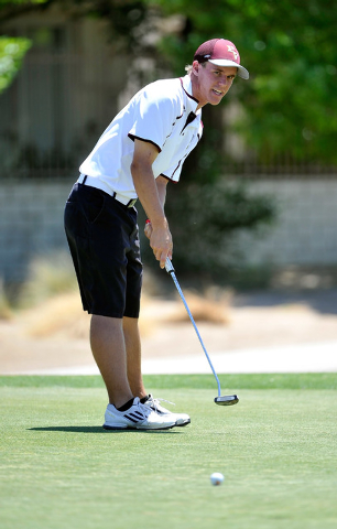 Pahrump Valley's Kyle Steib shoots on the fifth hole during the final round of the Div ...