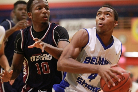Belmont Shore's Nick Blair (4) drives past Upward Stars' Randall Shaw (10) in th ...