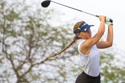 Boulder City golfer Lani Potter hits a drive during the Eagles match with Coronado on Monday ...