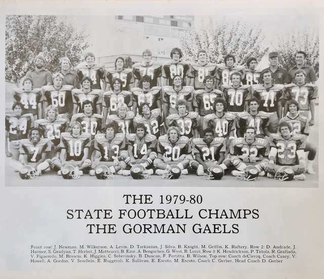 A yearbook photo featuring the Bishop Gorman High School state football champions from 1979 ...