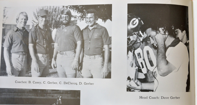 Dave Gerber is shown in yearbook photos from his years as head coach in the 1970s at Bishop ...