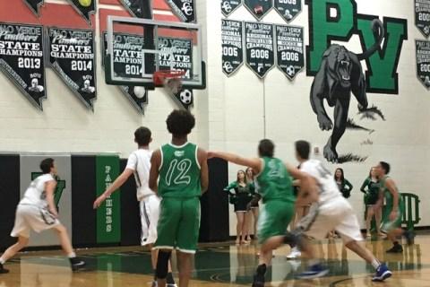Green Valley senior Eric Johnson (12) watches his 3-point shot go in against Palo Verde duri ...