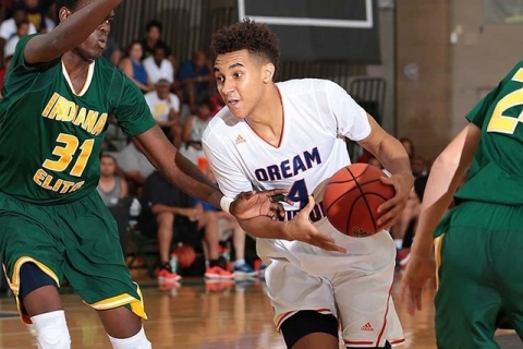 Chase Jeter of Dream Vision drives from the top of the key during the adidas Super 64 Champi ...
