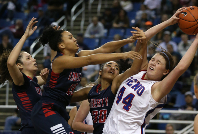 From left, Liberty Patriots Jazmin O'Bannon, Aubre' Fortner and Paris Strawther ...