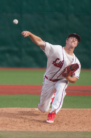 Liberty's Dan Skelly pitches against Centennial in the Division I state tournament on ...