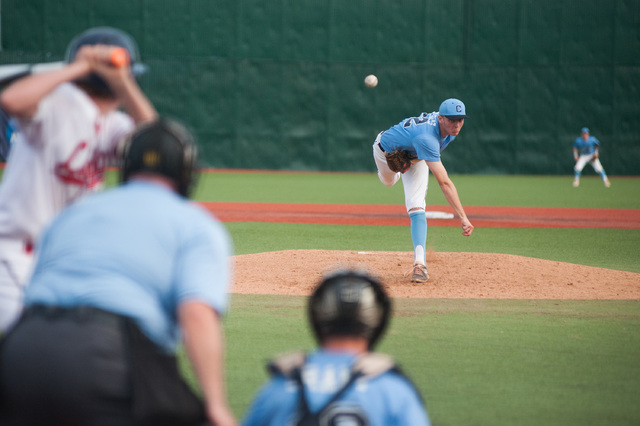 Centennial's William Loucks pitches against the Liberty in the Division I state tourna ...