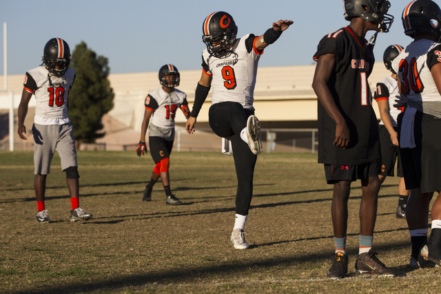 Chaparral's Devin Gaddy (9) warms up during practice on Thursday, Nov. 10, 2016, in La ...