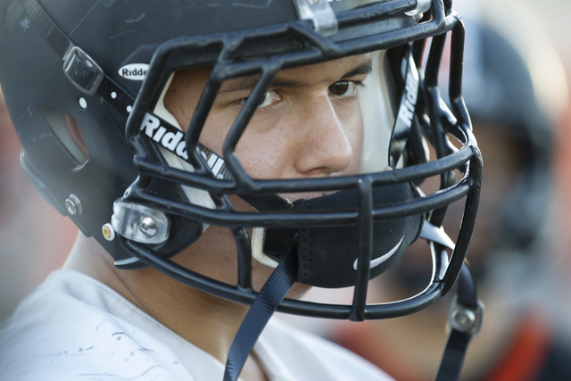 Chaparral's Devin Gaddy (9) listens to his coach during practice on Thursday, Nov. 10, ...