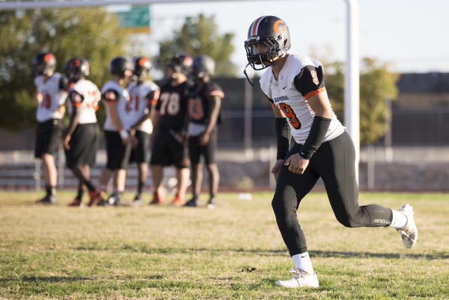 Chaparral's Devin Gaddy (9) runs an offensive drill during practice on Thursday, Nov. ...