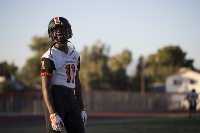 Chaparral's Kentrell Petite (11) listens to a teammate during practice on Thursday, No ...