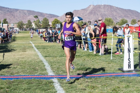Frankie Bisacky from Durango High School finishes first during the men's junior-senior ...