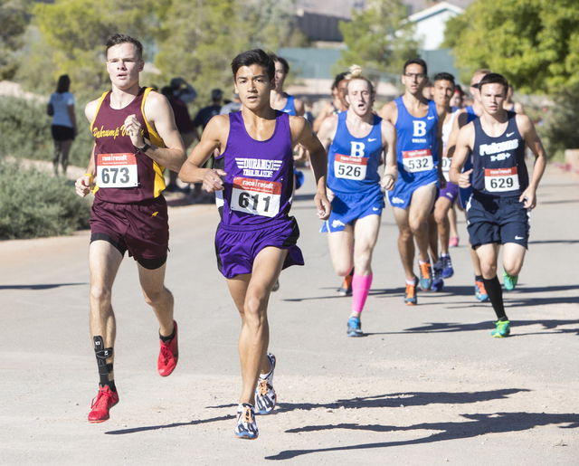Frankie Bisacky from Durango High School leads the pack during the men's junior-senior ...