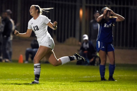 Palo Verde's Gia Barone reacts after scoring a goal against Reno during a girls state ...