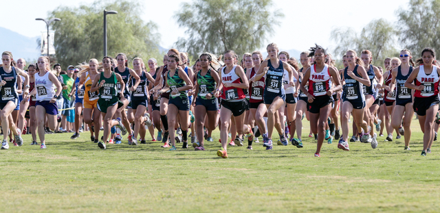 Cross country varsity A girls race participants start their race during the 2016 Larry Burge ...