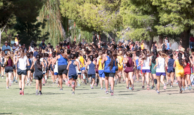A view from the back of the pack is show of the varsity girls cross country runners as they ...