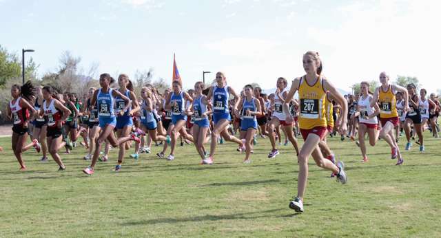 Varsity girls cross country runners are seen as they start their race during the 2016 Larry ...