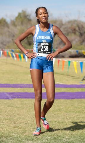 Centennial High School cross country runner Alexis Gourrier (258) is shown after coming acro ...