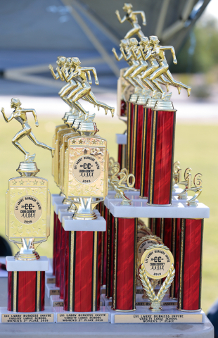 Varsity girls trophies are shown on a table prior to the finish of the 2016 Larry Burgess Cr ...